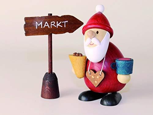 Weihnachtsmann Weihnachtsmarktbummler mit Schild Markt Höhe ca 9,5cm NEU Erzgebirge Weihnachtsfigur...