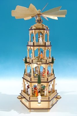 Rudolphs Schatzkiste Große Weihnachtspyramide in Naturholz mit farbigen Figuren Höhe ca 70 cm NEU...