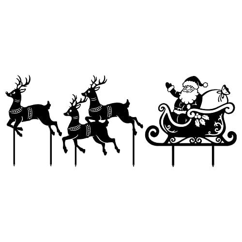 HEVÜY Gartenzaubereien Elch und Tanne zum Stecken aus Edelrost weihnachtlicher Deko-Stecker...