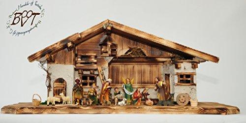 ÖLBAUM-Krippe,XXL Holz-Weihnachtskrippe, mit Premium-DEKOSET mit Krippen-Tieren Schafe und Ziegen,...
