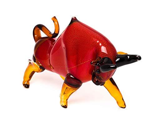 Stier aus Glas Figur rot Dekoration große Skulptur 50cm Glass Bull Taurus
