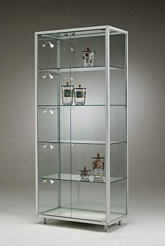 MHN Standvitrine hoch Glas abschließbar Messevitrine rollbar Ausstellungsvitrine breit Vitrine Alu...