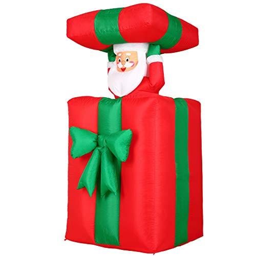Monzana Aufblasbarer Weihnachtsmann 152cm Springt-aus-der-Box LED Beleuchtet Weihnachten Geschenk...