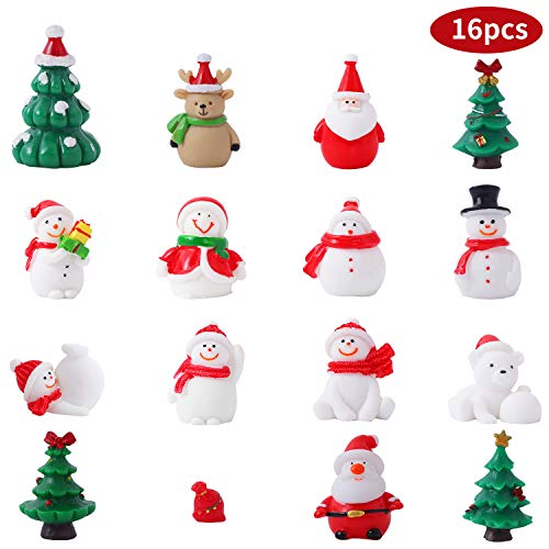 Herefun 16 Stück Weihnachten Miniatur Ornamente, DIY Harz Figuren Mini Weihnachtendeko Set,...