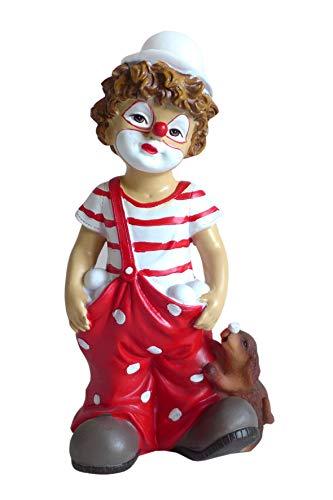 Clown Junge rot weiß mit Hund Karneval Köln Zierfigur Figur Clownfigur Dekofigur