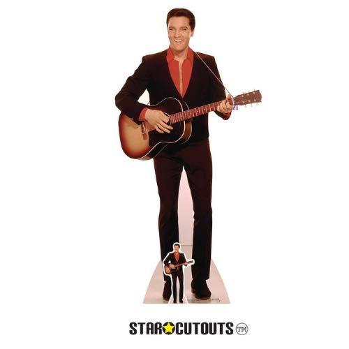 Star Cutouts Aufsteller von Elvis mit rotem Hemd und Gitarre