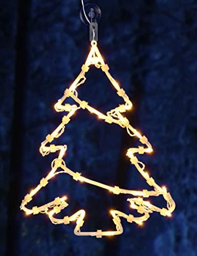 Spetebo LED Fenster Silhouette XXL in 48x42 cm - Tannenbaum - klares, gemütliches Licht -...