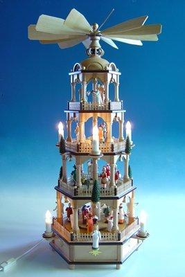 Rudolphs Schatzkiste Große Weihnachtspyramide in Naturholz mit farbigen Figuren, elektr. Höhe ca...