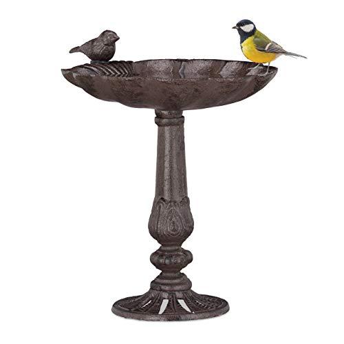 Relaxdays Gusseisen Vogeltränke, Säule, Gartendeko, stehend, Vogelfutterstelle, Muschel...