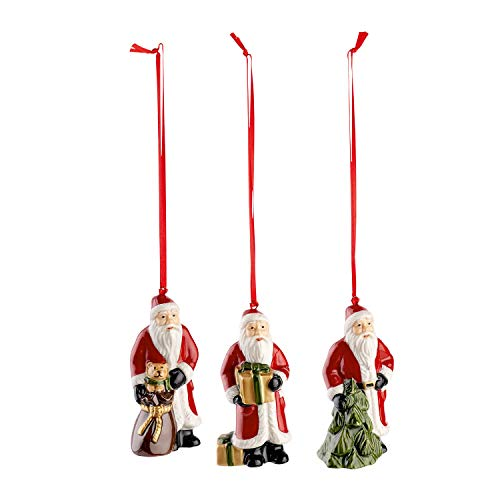Villeroy & Boch Nostalgic Ornaments Baumschmuck 'Santa', 3er Set, Porzellan, Rot