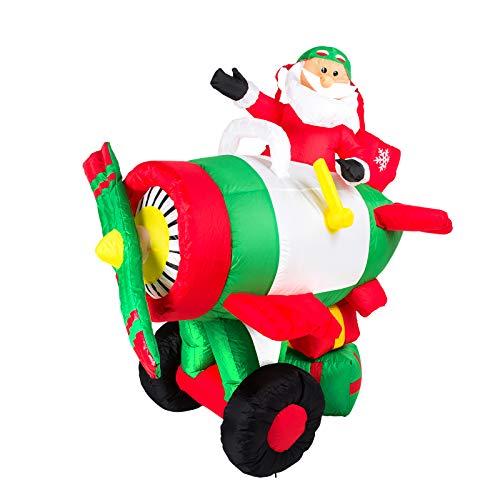 Pridea Weihnachtsmann im Flugzeug Inflatable selbstaufblasend 150cm große Weihnachtsdeko...