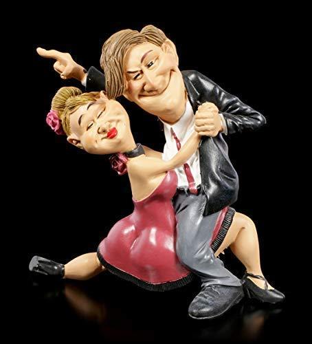 Karrikatur Funny Sports Figur - Tanzpaar mit Siegeswillen   Witzige Dekofigur, handbemalt