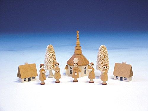Weihnachtsfiguren Seiffener Kirche mit Kurrende, natur - Kurrendesänger – Kurrendefiguren -...