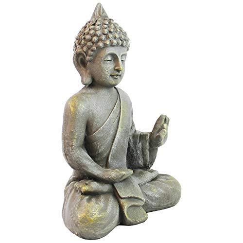 Multistore 2002 Deko Buddha sitzend H53cm Dekofigur Buddhafigur Gartenfigur Skulptur Statue Figur...
