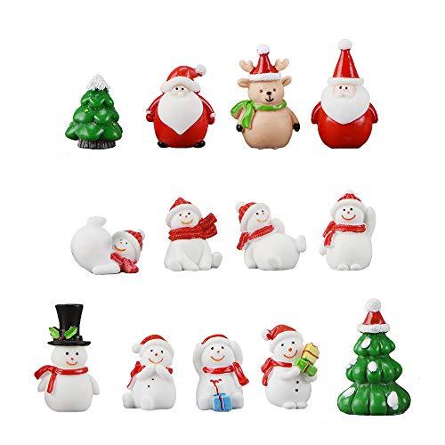 13 Stück Harz Miniatur Garten Figuren Weihnachten Mini Ornamente Set für Fee Garten Deko...