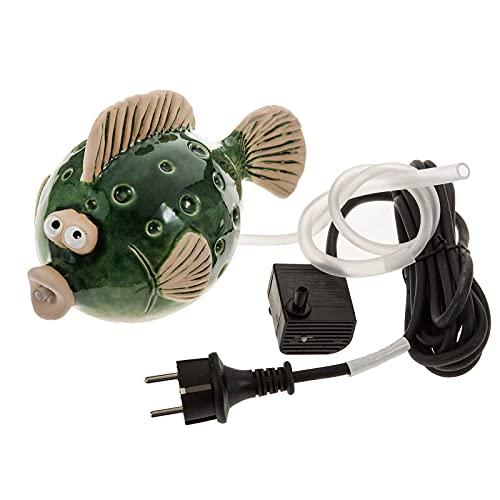 SIDCO Wasserspeier Fisch mit Pumpe Wasserspiel Teichfigur Keramik grün Garten Teich