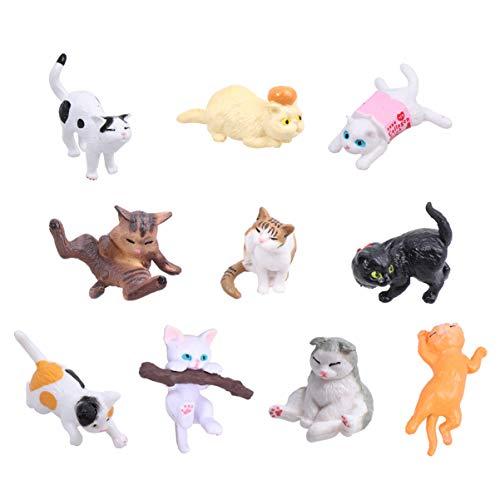 TOYANDONA 10 stücke Miniatur Garten zubehör Katze Figuren Spielzeug tierfiguren Miniatur Garten...