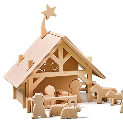 Lovelties Holz Weihnachtskrippe mit Figuren - Minimalistische Weihnachtsdeko Krippe & Stall mit 12...