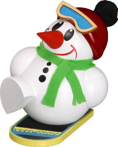 Weihnachtsfigur Kugelräuchermann Cool-Man auf Snowboard HxBxT = 11x9x11cm NEU Räuchermann Schnee...