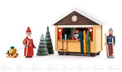 Miniatur Skibude mit 2 Figuren und 2 Bäumchen (5) Höhe ca 9 cm NEU Erzgebirge Weihnachtsfigur...