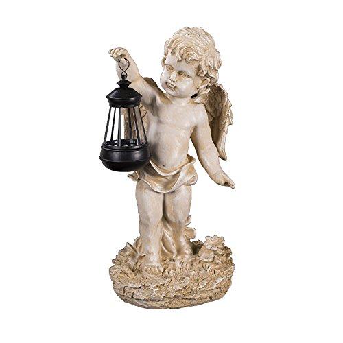 Engel NF86335 C, Groß 42 cm hoch, Gartenengel, Deko Engel mit LED Solar Lampe, Antik Weiß,...