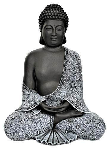 Tiefes Kunsthandwerk Buddha Figur aus Stein sitzend in Schiefer, Grau, Statue frostsicher und...