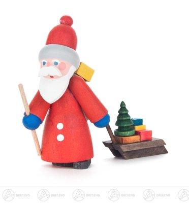 Weihnachtliche Miniatur Weihnachtsmann mit Schlitten Breite x Höhe x Tiefe 4,5 cmx6,5 cmx2,5 cm NEU...