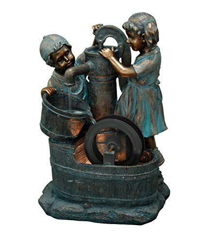 Dehner Gartenbrunnen Lea und Leon mit LED Beleuchtung, ca. 68.5 x 45 x 35 cm, Polyresin,...