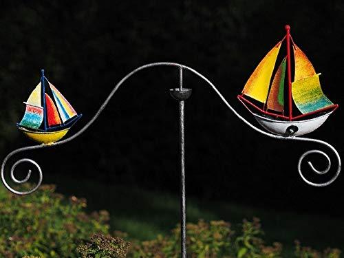 Thermobrass Windspiel XXL Wippe Gartendeko Gartenstecker Figur Außendeko Gartenfigur Boot Segelboot...