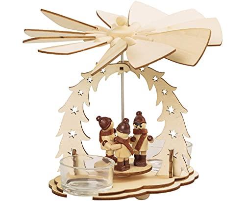 Weihnachtsdekoration Pyramide mit Winterkinder 16 cm Weihnachtspyramide für 2 Teelichte...