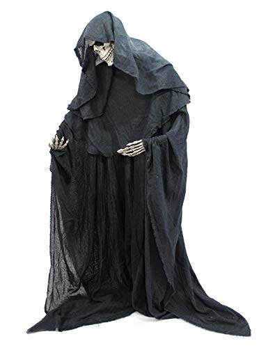 Europalms Halloween Figur Skelett formbar   Stehendes Skelett im schwarzen Umhang   Individuell zu...