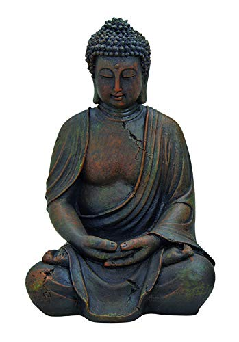 WOMA Deko Buddha Figur Garten Sitzend aus Wetterfestem Polyresin, Dekoration für Haus, Wohnung und...