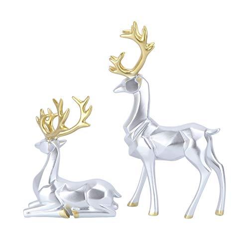 LUOEM 1 Paar Mini Hirsch Figur Skulptur Harz Rentier Statue Elch Dekofigur Weihnachten Tierfigur...