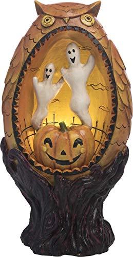 Transpac Halloween-Figur Diorama, Eule, Geister, Kürbis mit LED-Beleuchtung