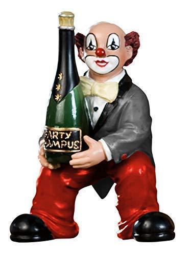 Gildeclown graue Jacke - Champagnerflasche/Knie - Dekofigur handgefertigt