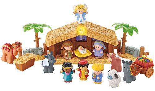 Fisher-Price J2404 - Little People Weihnachtskrippe Geschenkset, mit 12 Figuren und 5...