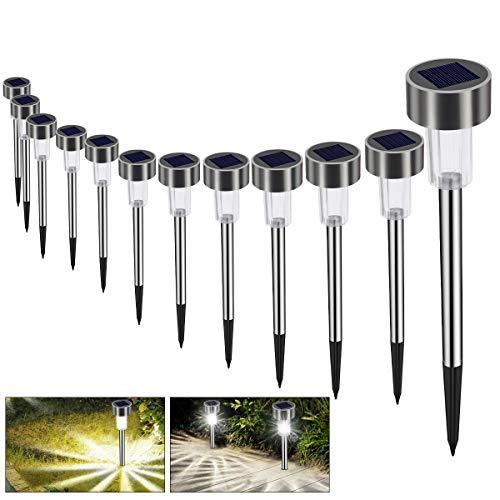 Solarleuchte Solar Gartenleuchte LED Wegleuchte Solarlampe 12 Stück Energiesparend IP65 Wasserdicht...