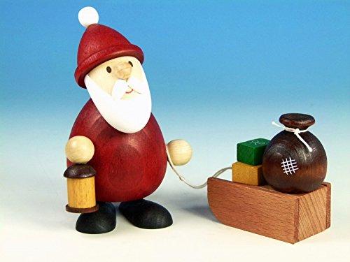 Ulrich Kunsthandwerk Weihnachtsfigur Weihnachtsmann Modern mit Laterne & Schlitten mit Sack H 5,1cm...