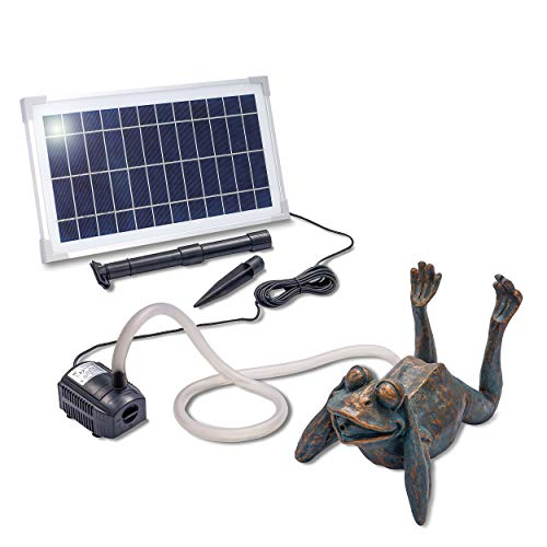 Solarbetriebener Wasserspeier Frosch - inkl. Solar Teichpumpe 8 Watt 380 l/h - Maße ca. 355 x 205 x...