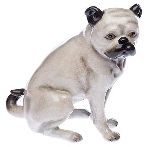 aubaho Porzellanfigur Mops Porzellan Hund Bulldoge Figur Skulptur Porzellanmops