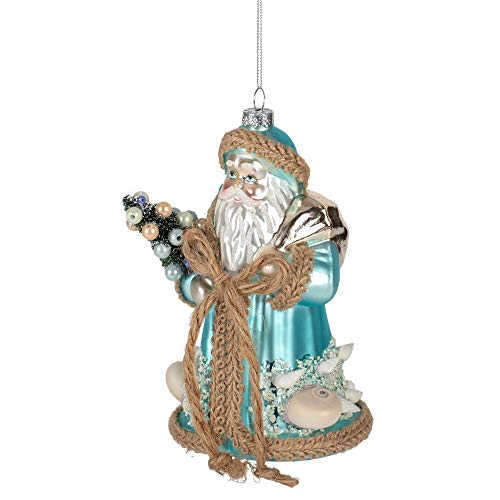 Skurriler blauer Weihnachtsmann mit Baum, 18,8 x 10,2 cm, aus Kunstharz