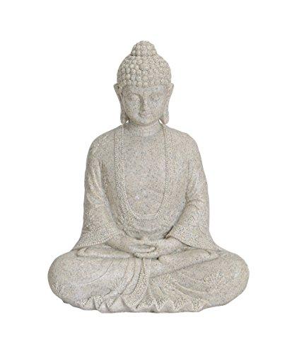 Buddha-Figur sitzend, 23cm in Beige | Deko-Artikel für Wohnung, Haus & Garten | Buddha-Skulptur,...