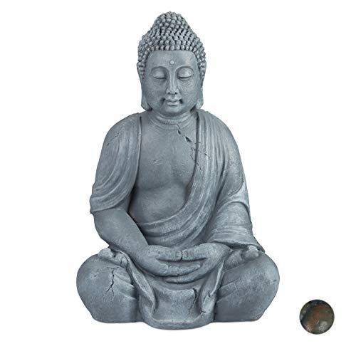 Relaxdays Buddha Figur sitzend, XL 70 cm, Gartenfigur, Dekofigur Wohnzimmer, wetterfest &...
