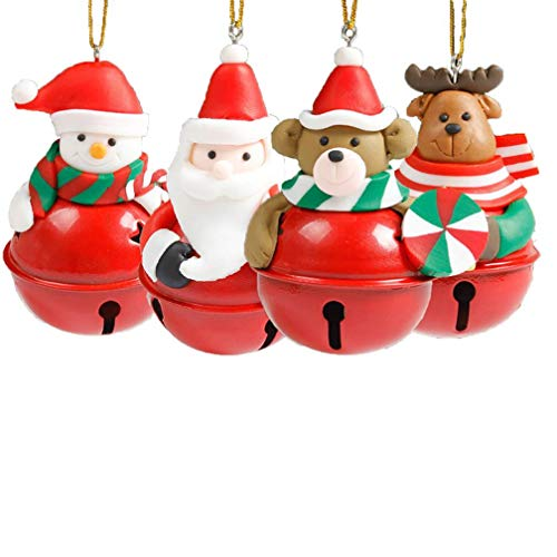 HONGTIAN 4 Stück sortierte Ton Figur Jingle Bell Ornaments Traditionelle Puppe hängende Charms...