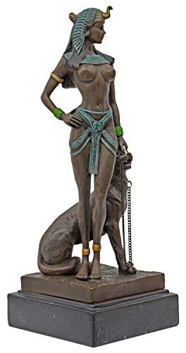 aubaho Bronzeskulptur Kleopatra Cleopatra Panther Antik-Stil Bronze Figur Statue 26cm