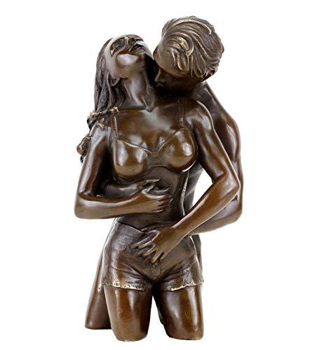 Erotische Bronzefigur - Liebespaar Figur - Die Umarmung von Patoue - Erotik Akt - Höhe: 23 cm -...