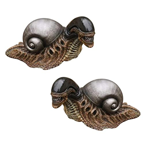 B Blesiya 2X Alien Snail Figuren Garten Statue Harz Skulptur Ornamente Dekore