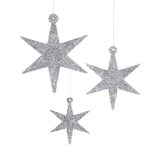 Oblique Unique® 3 Holz Sterne mit Glitzereffekt für Weihnachten Weihnachtsbaum Christbaum...
