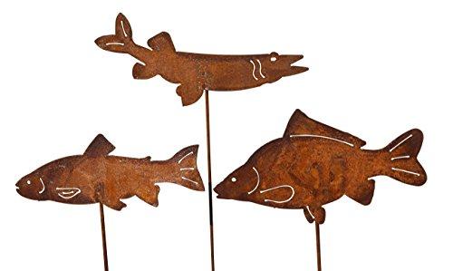 Gartenstecker Set Fische 3 x 60cm Metall Rost Gartendeko Edelrost