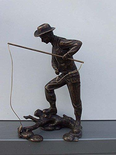 H. Packmor GmbH Bronzeskulptur Mann mit Angel Figur Angler Dekorationsfigur Gartendekoration